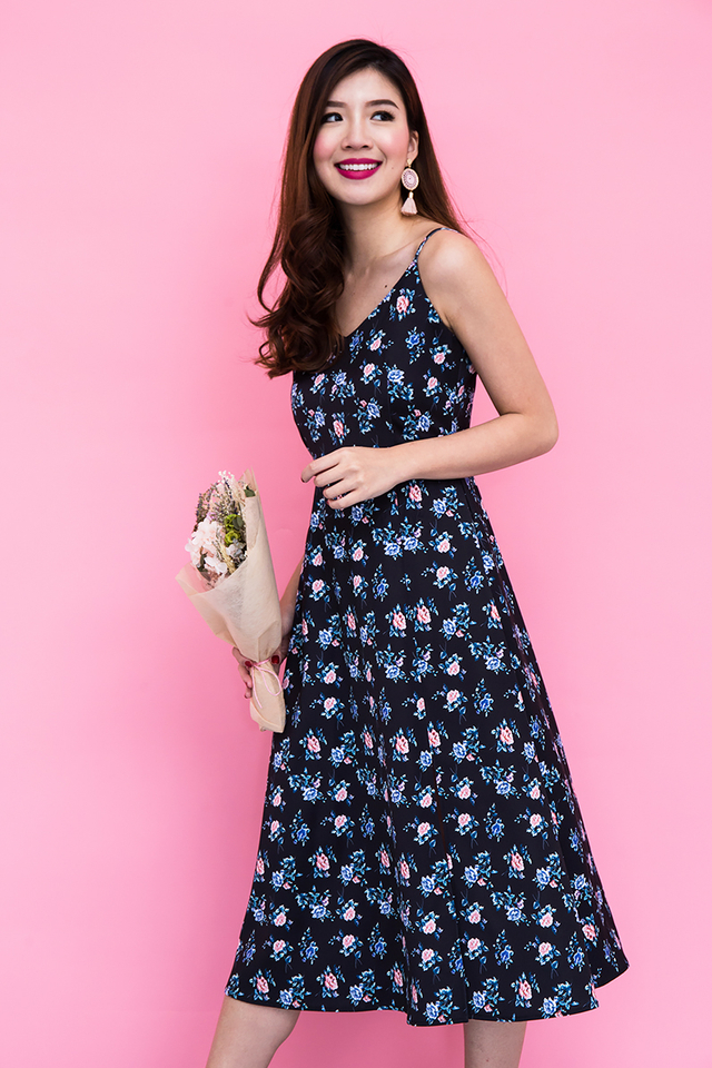 Picture Perfect Midi Dress in Navy Florals