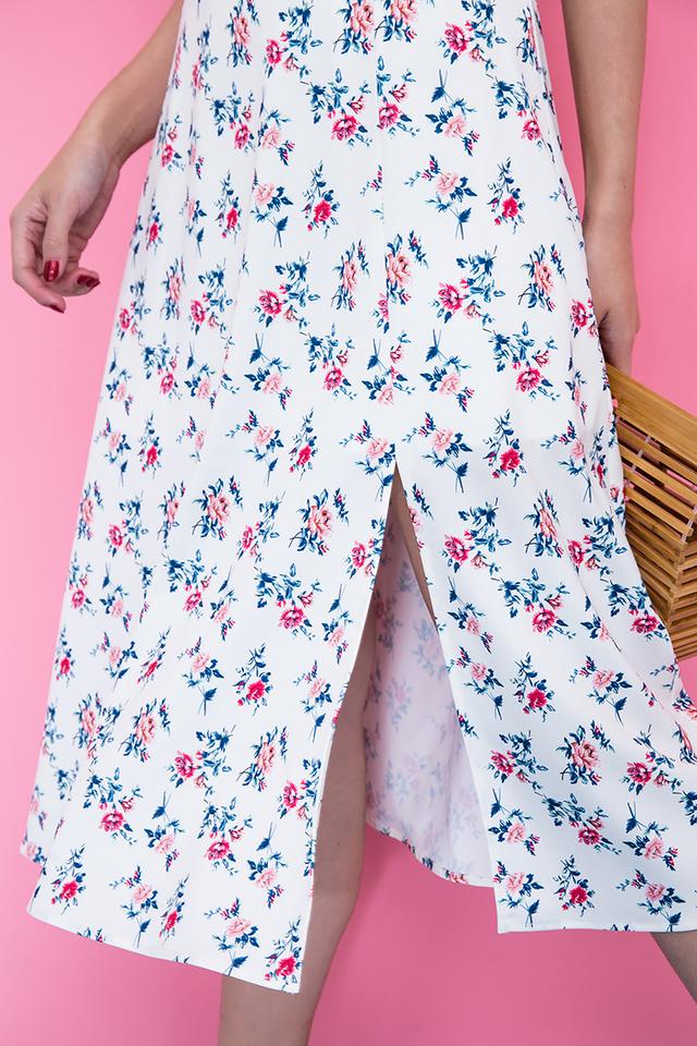 Picture Perfect Midi Dress in Cream Florals