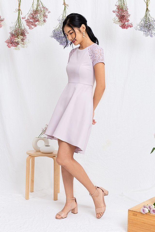 Precious Moments Lace Sleeved Dress in Lavender