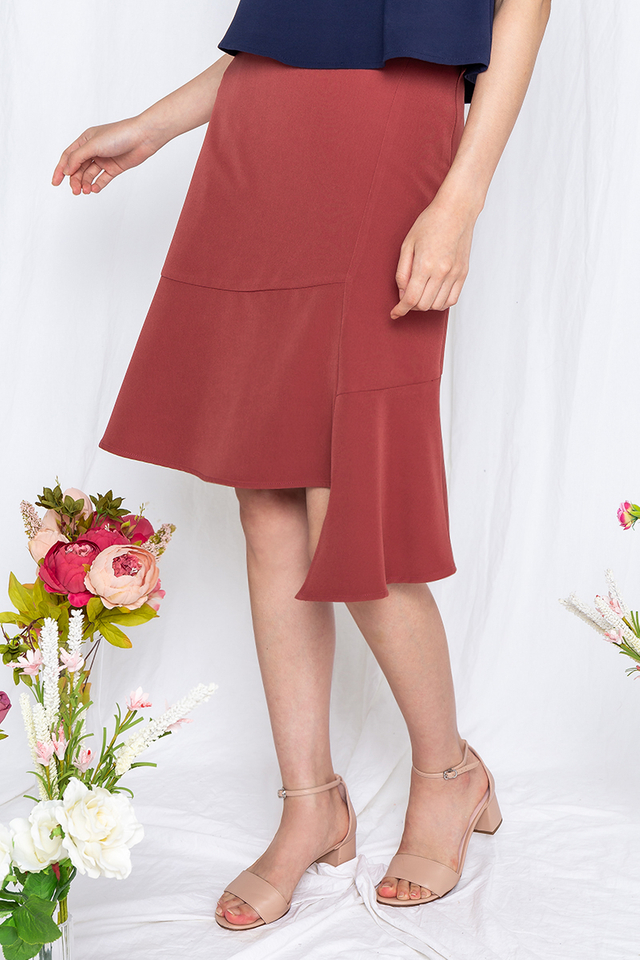 French Crepe Skirt in Sienna