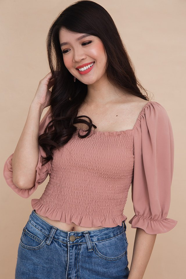 Gemma Smocked Top in French Rose
