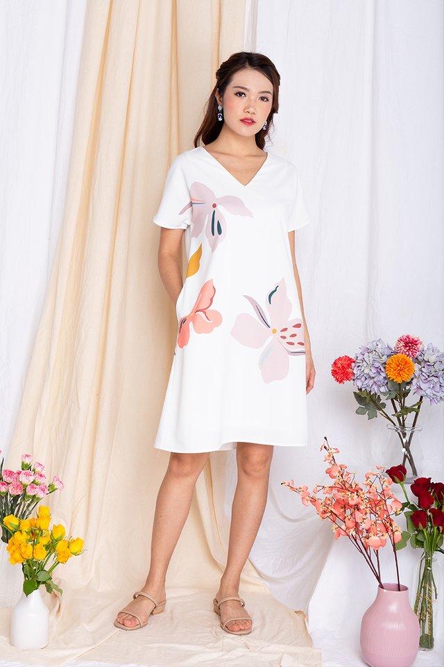 Harmony Sleeved Tee Dress in Pearl White