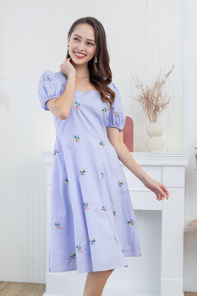 Lindsey Embroidery Dress in Lilac