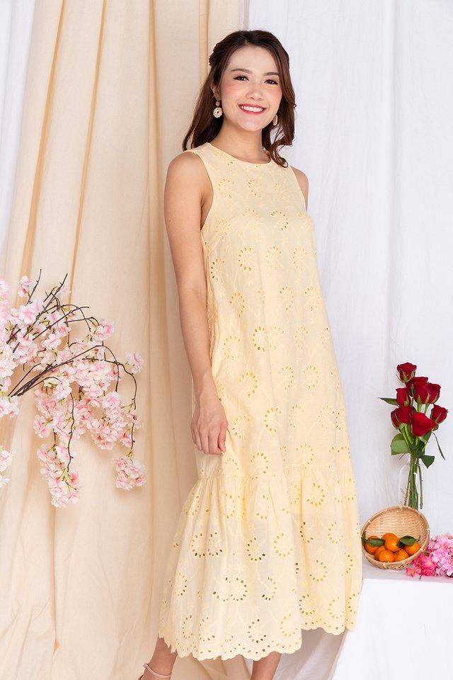 Marjorie Eyelet Midi Dress in Daffodil Yellow