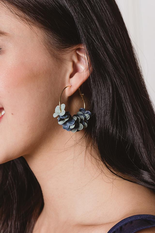Petal Blossoms Hoop Earrings in Pastel Blue