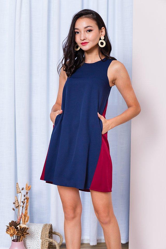 Skyline Dress in Navy Wine