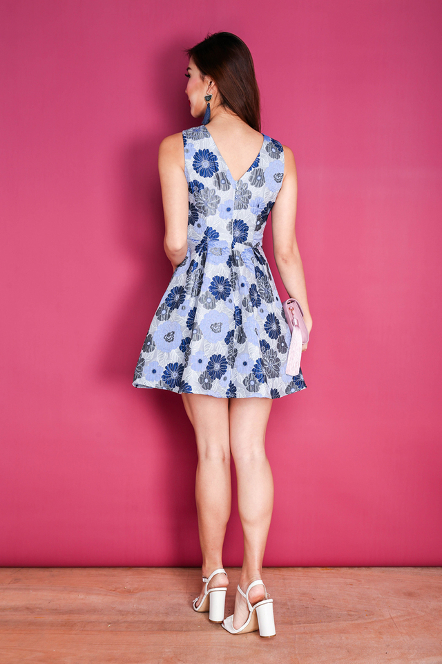 Spring Decadence Jacquard Dress in Blue Blooms
