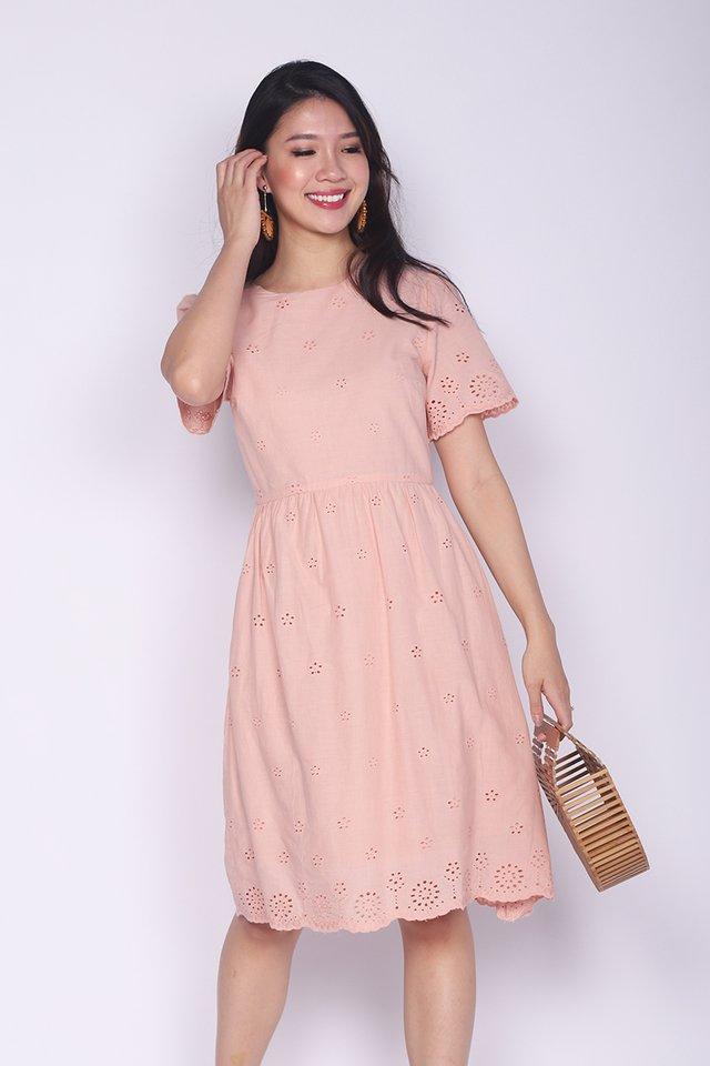 Sweet Maiden Eyelet Dress in Pink Beige