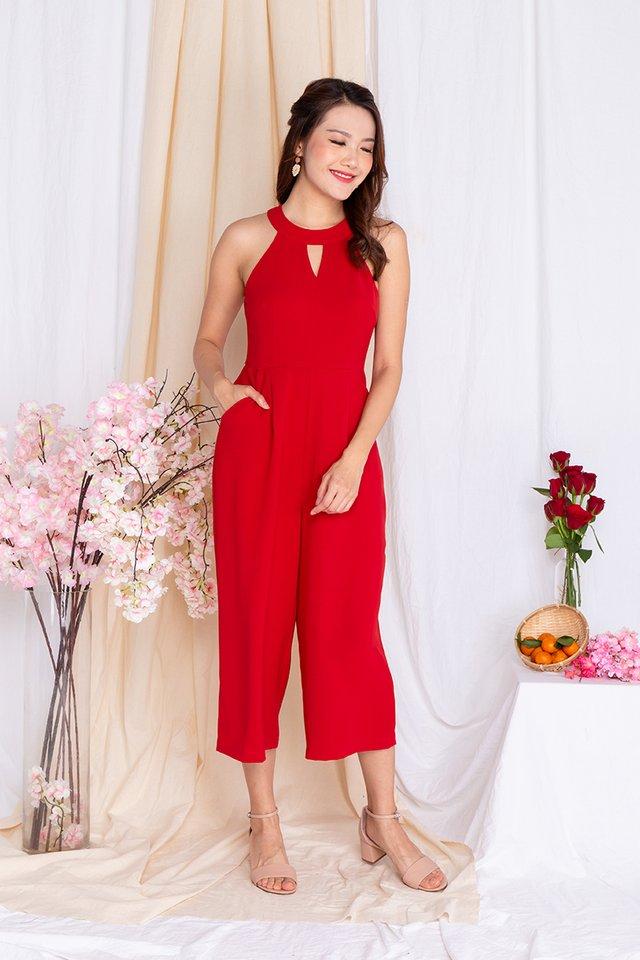 Take Heart Diamond Cut Jumpsuit in Scarlet Red