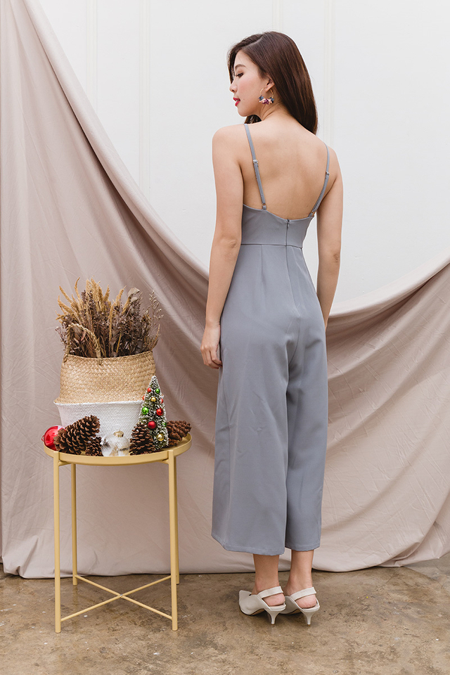 Tasha Culottes Low-back Jumpsuit in Dust Blue