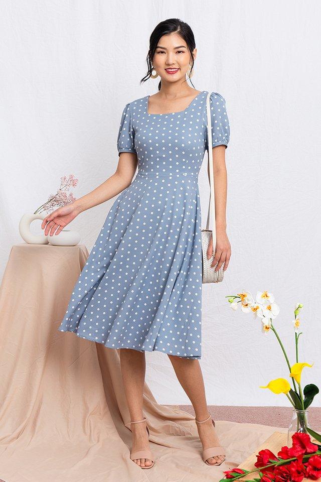 Timeless Tale Polka Dot Midi Dress in Sky Blue