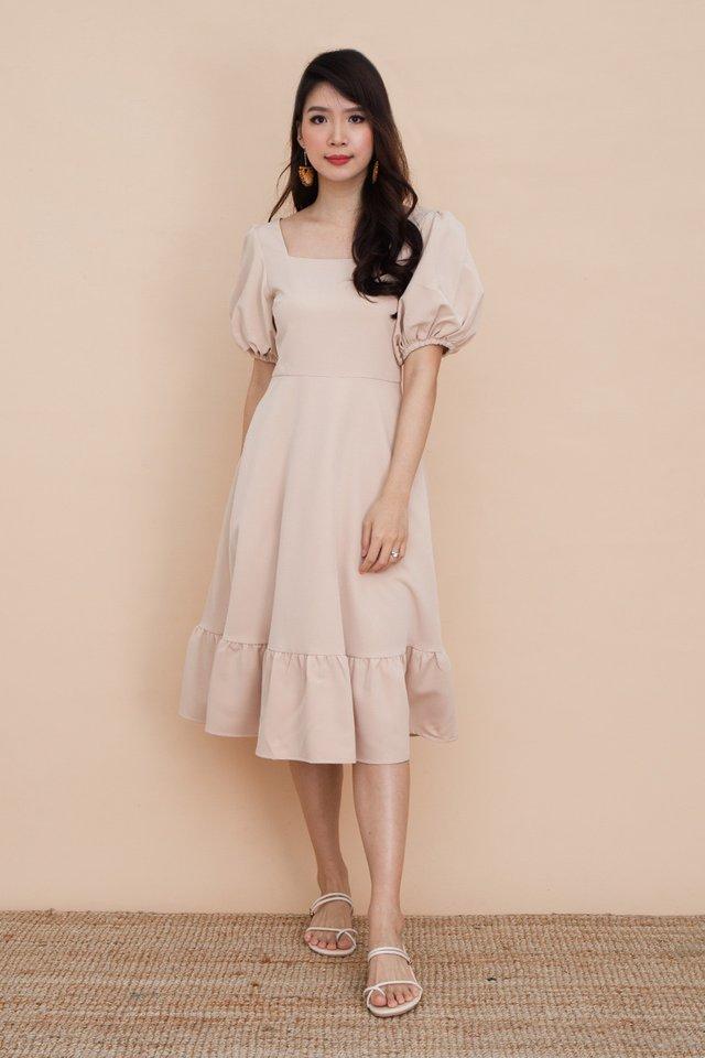 Valeria Puff Sleeve Dress in Latte