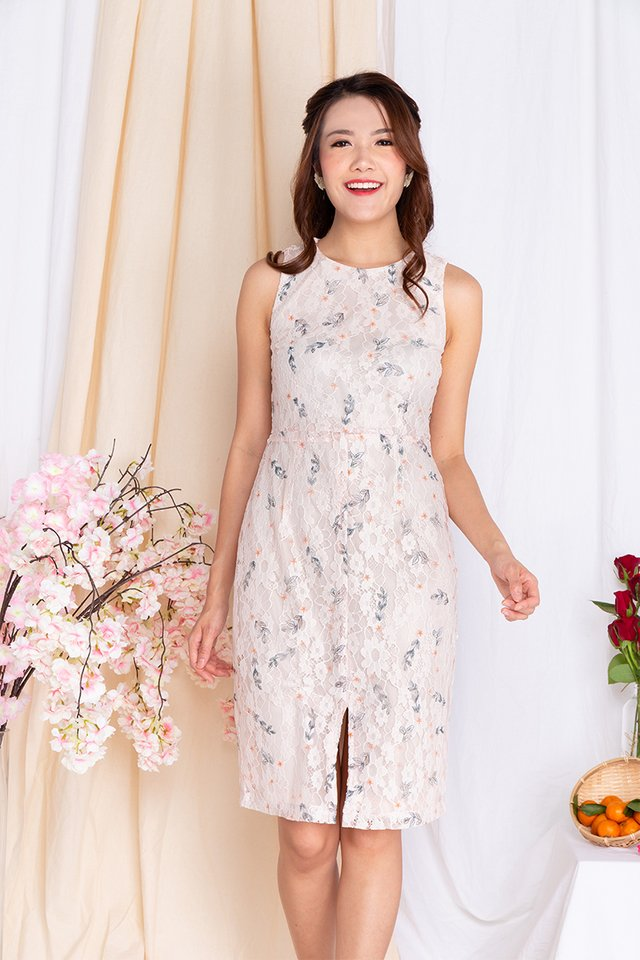 Whispers of Blossoms Lace Dress in Cream